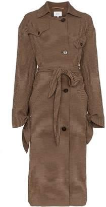 Nanushka Noir gingham wool blend trench coat