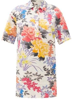Etro Rodi Floral-print Cotton-jersey Dress - White Multi