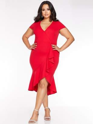Quiz Curve Red Cap Sleeve Frill Midi Dress