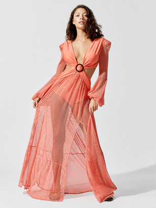 PatBO Long Sleeve Mesh Beach Dress