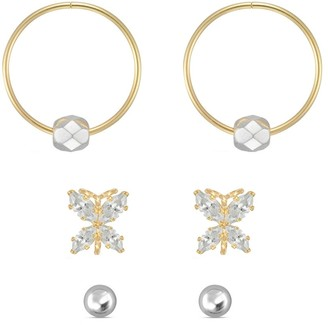 Forever Last 10kt yellow Gold Trio Earring Set - 3mm white ball stud, cubic butterfly stud, & 13mm yellow sleeper mirror bead