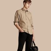 Burberry Check Detail Stretch Cotton Poplin Shirt