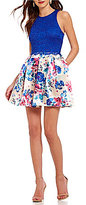 Teeze Me Lace Bodice Floral-Print Skater Dress