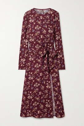 Reformation Jeana Belted Floral-print Crepe Midi Dress - Plum
