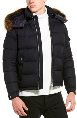 Moncler Leather-Trim Wool Down Coat