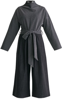 Paisie Deconstructed Striped Jumpsuit With Denim Culottes & Self Belt In Black & White