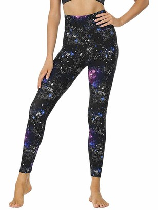 snaked cat High Waist Yoga Pants Gym Leggings Tummy Control Work Out Legging Running Tight Pants with Starry Printed (Black XXXL)