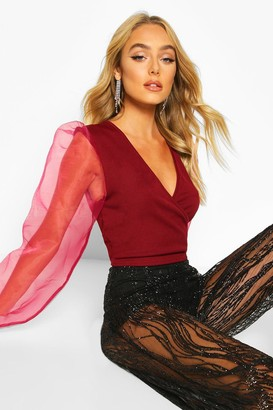 boohoo Mock Wrap Tie Top With Organza Sleeves