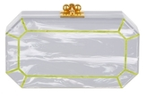 Edie Parker Fiona Faceted Grey Flannel Clutch