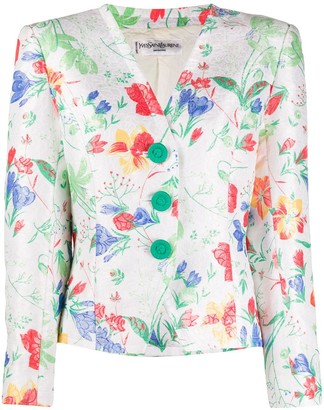 Yves Saint Laurent Pre Owned 1990s Cropped Floral Jacket