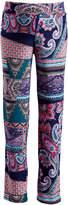 Glam Teal & Blue Paisley Maternity Straight-Leg Pants