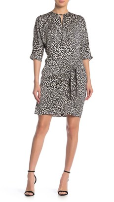 London Times Printed Drape Tie Dress