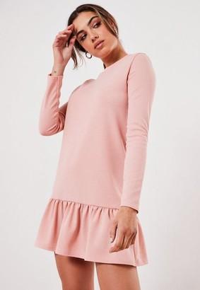 Missguided Rose Drop Hem Mini Dress