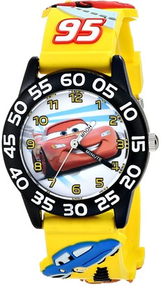 Disney Kids' W001505 Time Teacher Cars Watch With Yellow 3-D Plastic Band