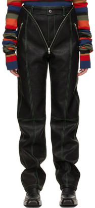 Y/Project Black Faux-Leather V Trousers