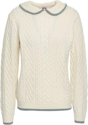 Shrimps Metallic-trimmed Cable-knit Wool Sweater