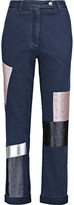 Osman Cropped Appliquéd High-Rise Straight-Leg Jeans