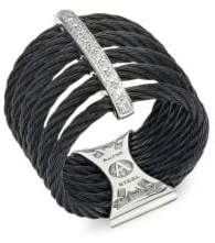 Alor 18K White Gold Black Stainless Steel Diamond Cable Ring