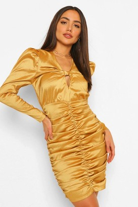boohoo Satin Ruched Bow Detail Mini Dress