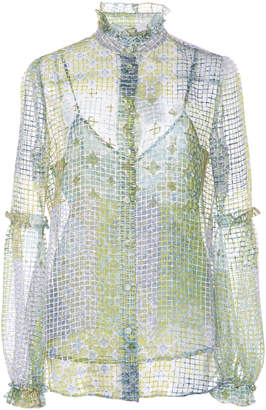 Luisa Beccaria High Neck Quilt Print Blouse