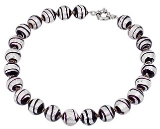 Murano Antica Murrina Giada Black & Silver Glass Bead Necklace