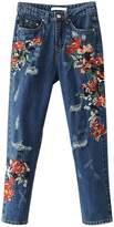BerryGo Women's Vintage High Waist Floral Embroidery Distressed Pencil Denim Jeans (,L)