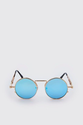 boohoo Mens Blue Screw Edge Vintage Sunglasses, Blue
