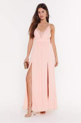Nasty Gal Womens Plunge Lace Tie Waist Maxi Dress - pink - 10