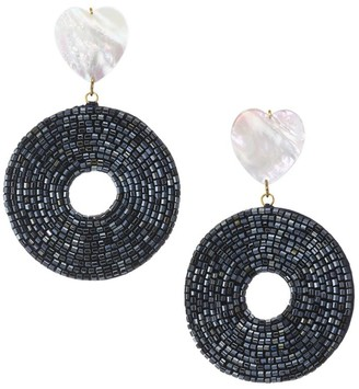 Lizzie Fortunato Starlet 18K Goldplated Mother-Of-Pearl Beaded Disc Drop Earrings