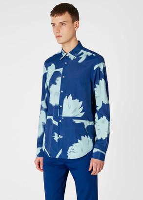 Paul Smith Men's Slim-Fit Indigo 'Screen Floral' Print Shirt
