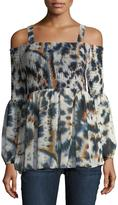BCBGeneration Cold-Shoulder Tie-Dye Top