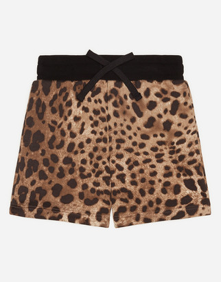 Dolce & Gabbana Jersey Bermuda Jogging Shorts With Leopard Print