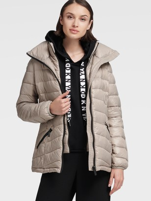 DKNY Women's Packable Quilted Jacket - Thistle - Size L
