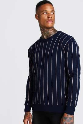 boohoo Long Sleeve Pinstripe Knitted Jumper