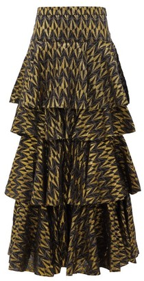 Rhode Resort Audrey Tiered Cotton-blend Brocade Skirt - Womens - Black Multi