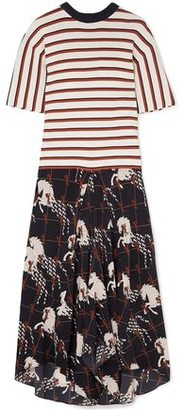 Chloé Striped Ribbed-knit And Printed Silk Crepe De Chine Midi Dress
