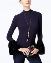 INC International Concepts Velvet-Cuff Mock-Neck Sweater, Created for Macy's