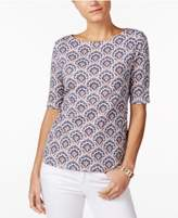 Charter Club Cotton Printed Boat-Neck Top, Only at Macy's