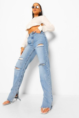 boohoo Distressed Split Hem Jean
