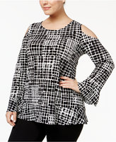 Alfani Plus Size Ruffled Cold-Shoulder Top, Only at Macy's