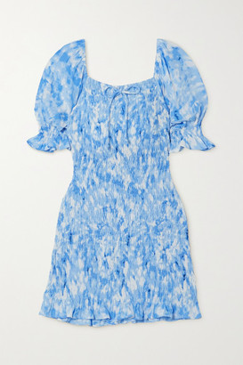 Faithfull The Brand + Net Sustain Magnolia Shirred Tie-dyed Crepe Mini Dress - Blue