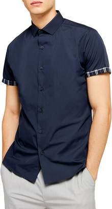 Topman Slim Fit Contrast Cuff Short Sleeve Button-Up Shirt