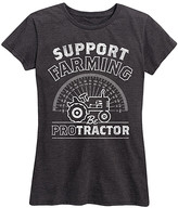 Instant Message Women's Women's Tee Shirts HEATHER - Heather Charcoal 'Support Farming. Be Protractor' Relaxed-Fit Tee - Women & Plus