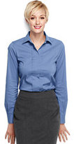 Classic Women's Regular Pleat Front Stretch Shirt-Yellow