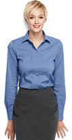 Lands' End Women's Regular Pleat Front Stretch Shirt-Black