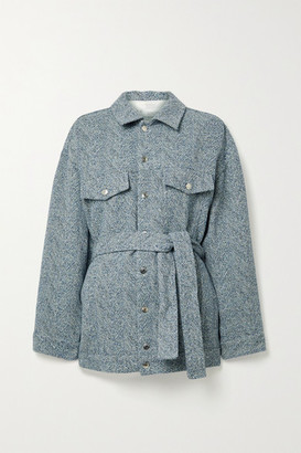 IRO Malcolm Oversized Belted Tweed Jacket - Blue