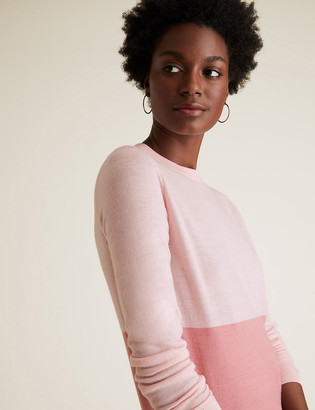 Marks and Spencer Pure Merino Wool Colour Block Jumper