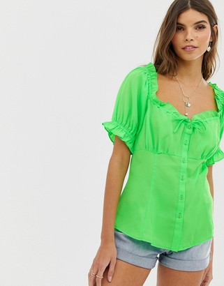 Asos DESIGN square neck top with ruffle detail in neon