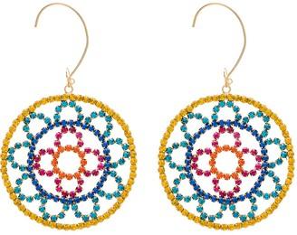 Area crochet-effect gold-tone crystal earrings