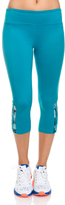 Soffe Caribbean Sea & Nebula Stripe Capri Leggings - Women
